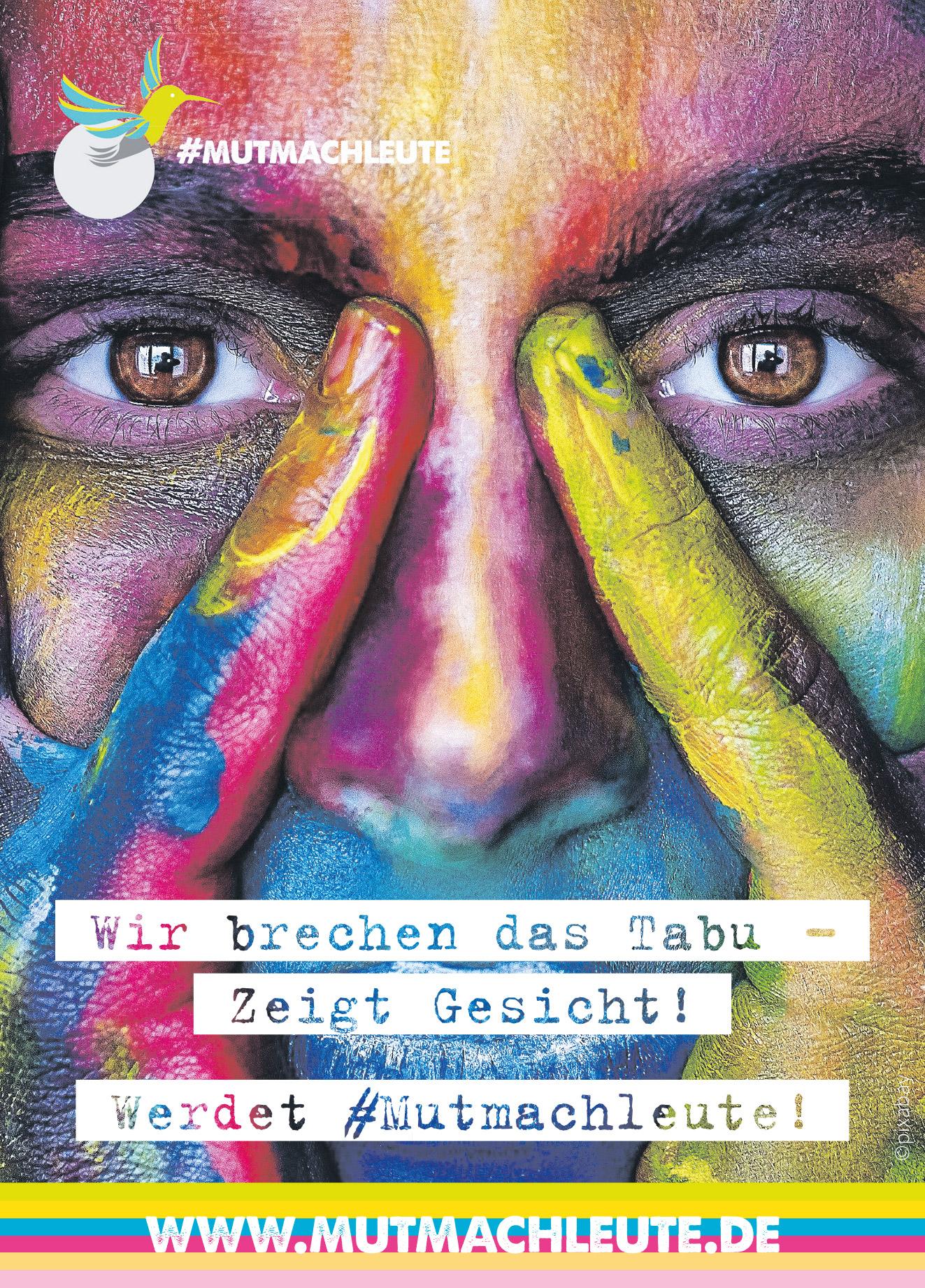 bunt angemaltes Gesicht als Zeichen gegen Stigmatisierung psychischer Krisen